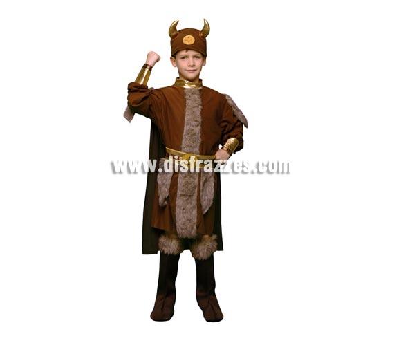 Disfraz de Vikingo barato infantil para Carnaval. Talla de 10 a 12 años. Incluye traje con capa, cubrebotas, cinturón y casco de tela.