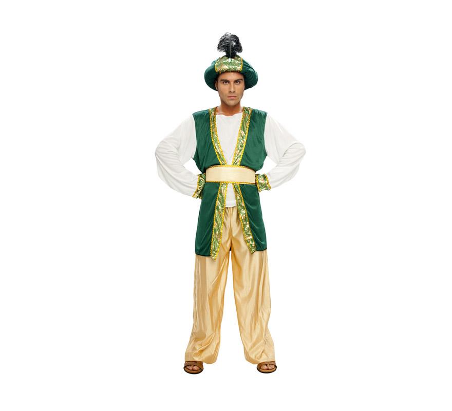 Disfraz de Sultán o Paje Real adulto para Navidad o para Carnaval barato. Talla standar M-L 52/54. Incluye pantalón, camisa, cinturón y turbante. Babuchas NO incluidas, podrás verlas en la sección de Complementos. Traje de Paje Real para Cabalgatas de Reyes Magos.