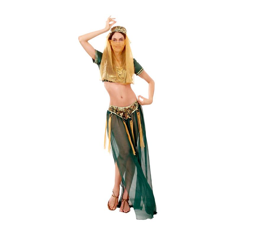 Disfraz barato de Fantasía Haren para mujer. Talla standar M-L = 38/42. Incluye tocado, camisa y pantalón. Un traje de Bailarina del vientre árabe que también es muy Sexy.