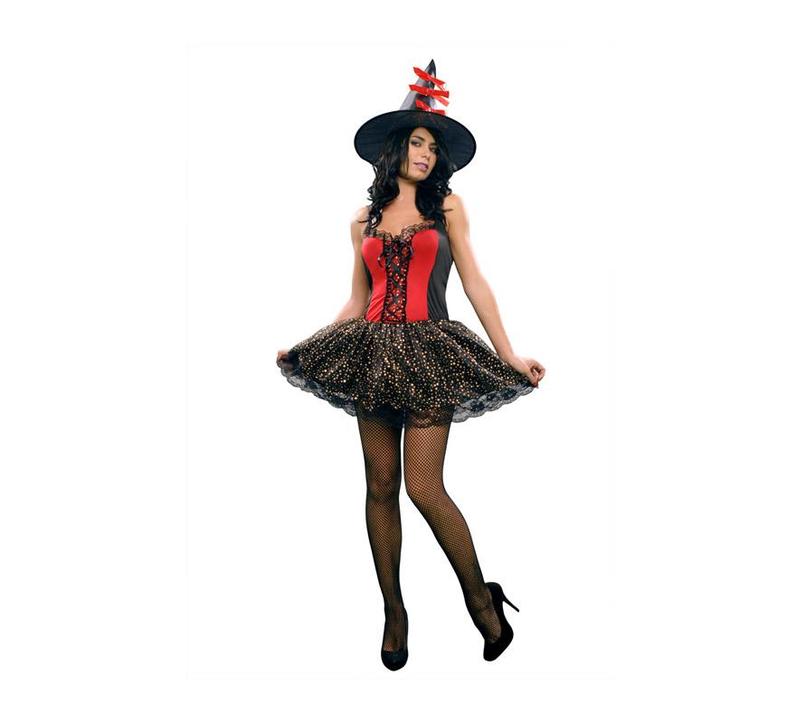 Disfraz de Bruja Sexy adulta para Halloween. Talla estándar M-L = 38/42. Incluye sombrero y vestido. Disfraz de Halloween barato. Escoba y medias NO incluidos, podrás verla en la sección Complementos.