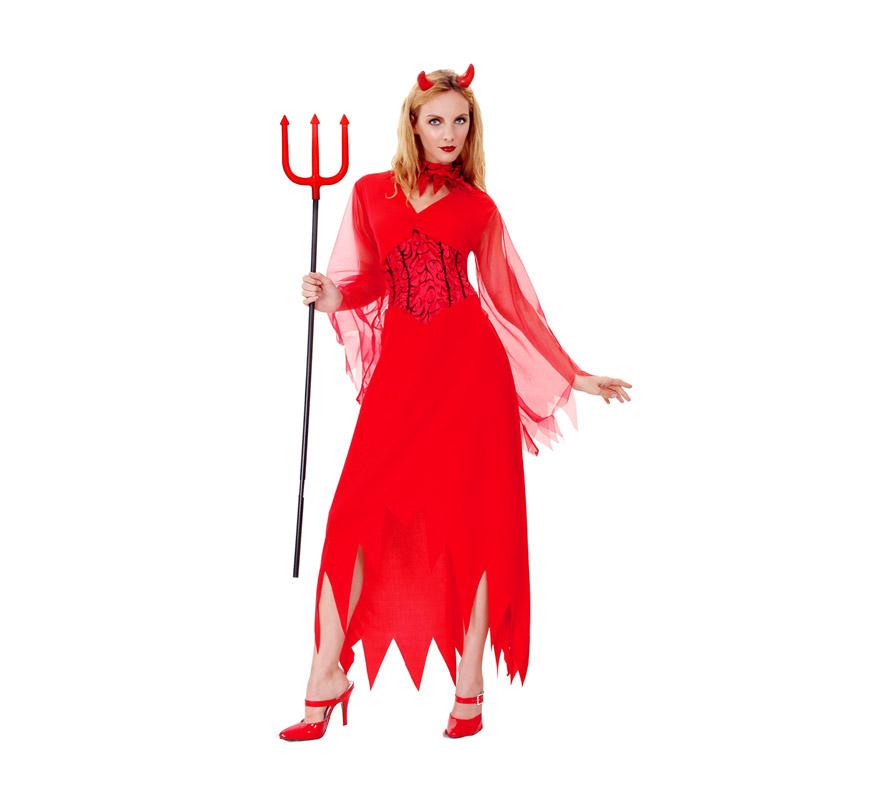 Disfraz de Diablesa Devil para mujer. Talla M-L = 38/42. Incluye vestido, gargantilla y cuernos.