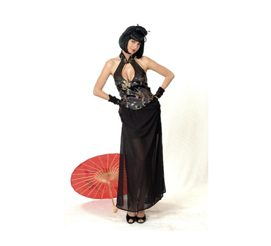 Disfraz de Dama China adulta económico. Talla standar M-L = 38/42. Incluye top y falda. Sombrilla roja NO incluida.