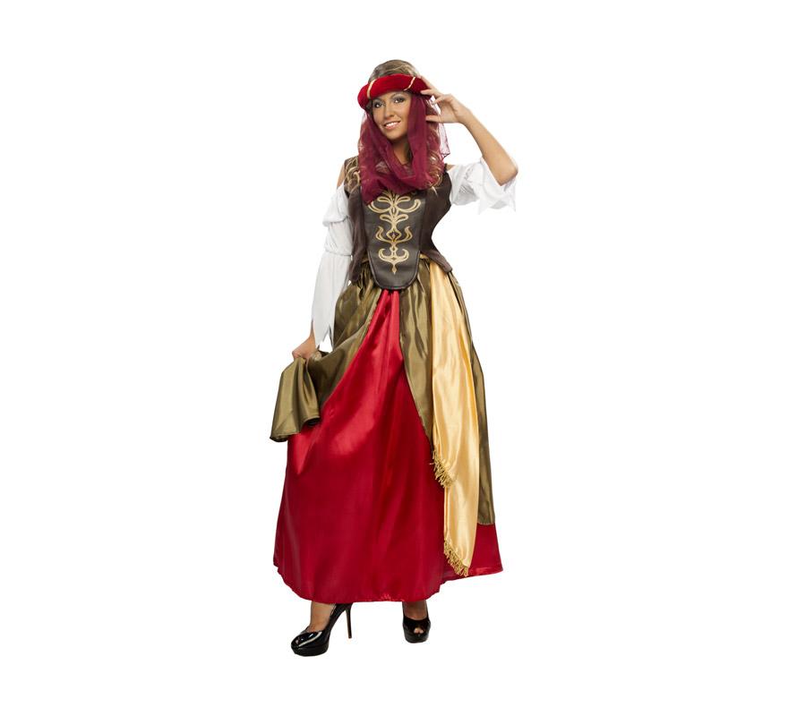 Disfraz de Mujer del Renacimiento Adulta Económico. Talla standar M-L = 38/42. Incluye tocado, blusa con corpiño, falda y cinturón. Flor NO incluida.