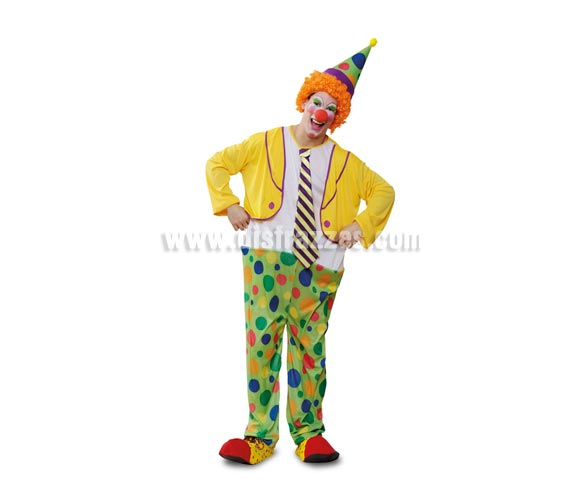 Disfraz de Payaso Aro Adulto barato para hombre. Talla standar M-L = 52/54. Incluye mono con aro y sombrero. Peluca y zapatones NO incluidos, podrás verlos en la sección de Complementos.
