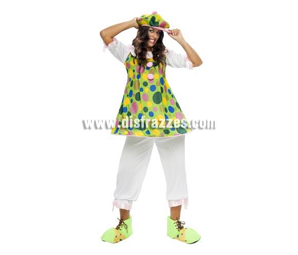 Disfraz de Payasa Aro adulta barato para mujer. Talla Standar M-L = 38/42. Incluye sombrero, camisa con aro y pantalón. Zapatones NO incluidos, podrás verlos en la sección de Complementos.