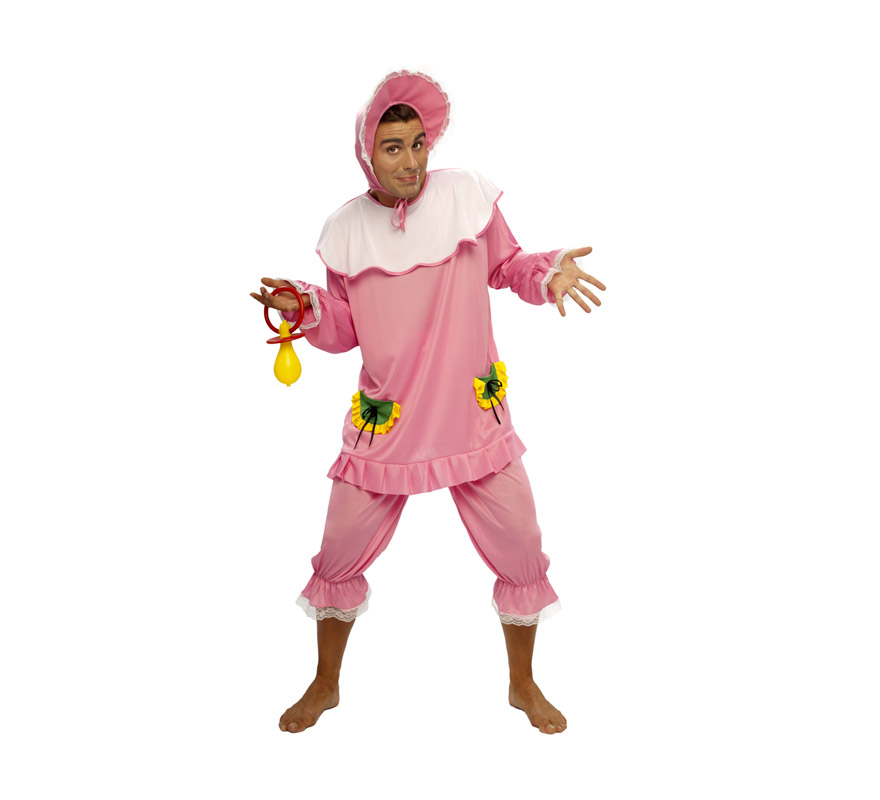Disfraz de Bebé Rosa adulto barato. Talla standar M-L = 52/54. Incluye gorro, camiseta y pantalón. Chupete NO incluido, podrás verlo en la sección de Complementos.