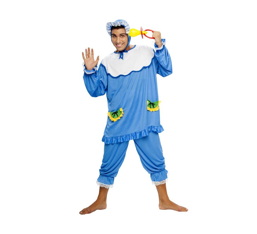 Disfraz de Bebé Azul adulto barato. Talla standar M-L = 52/54. Incluye gorro, camiseta y pantalón. Chupete NO incluido, podrás verlo en la sección de Complementos.