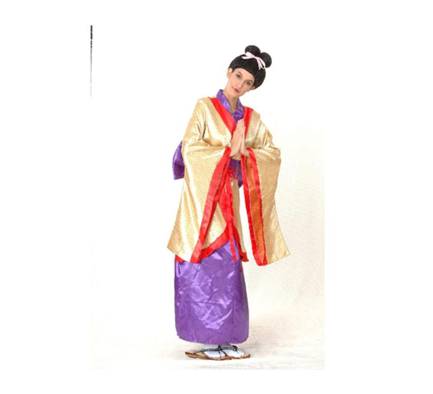 Disfraz de Geisha barato para mujer. Talla Standar M-L =  38/42. Incluye vestido y cinturón con lazo. Peluca NO incluida, podrás verla en la sección de Complementos.