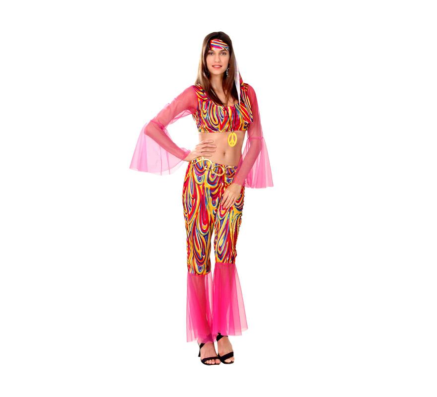 Disfraz de Hippie Adulta económico. Talla standar M-L = 38/42. Incluye top, pantalón, cinta del pelo y collar símbolo de la paz. Paz y amor.