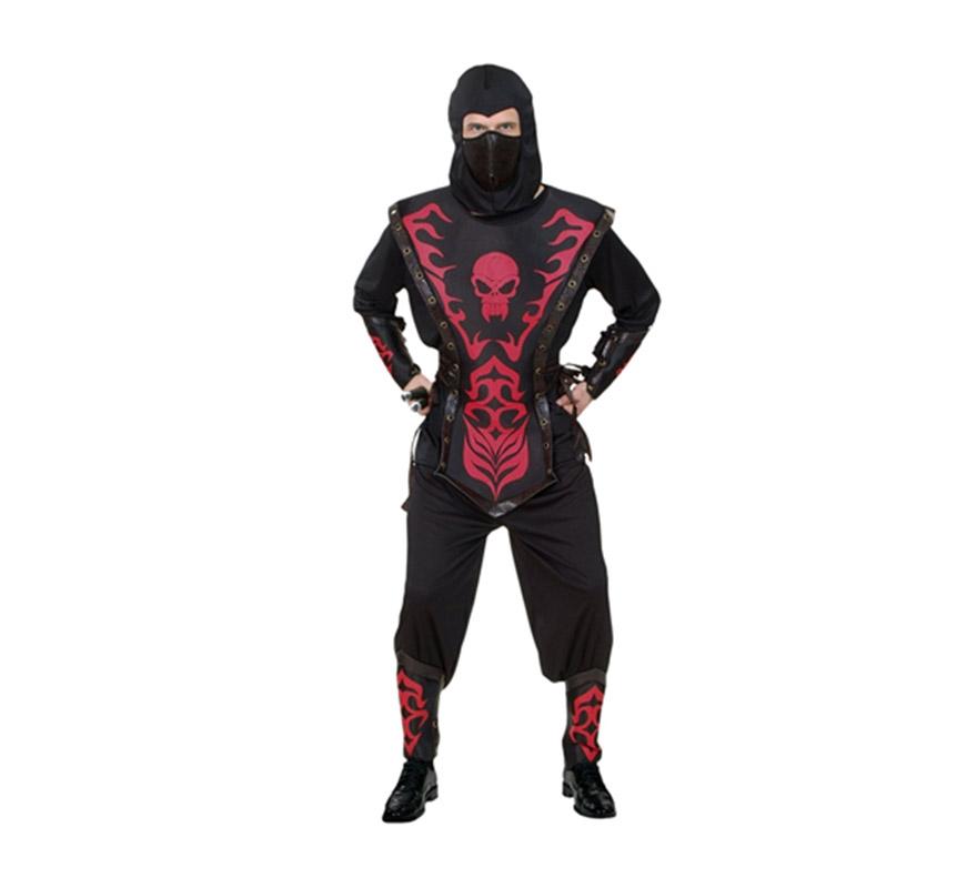 Disfraz de Ninja Calavera rojo adulto. Talla Standar M-L 52/54. Incluye capucha, máscara, camisa, armadura, pantalón, cinturón, muñequeras y espinilleras.