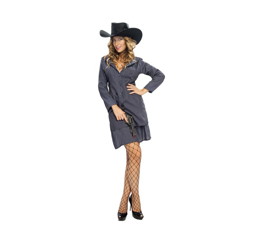Disfraz barato de Ganster para mujer. Talla standar M-L = 38/42. Incluye sombrero de tela, chaqueta y falda.