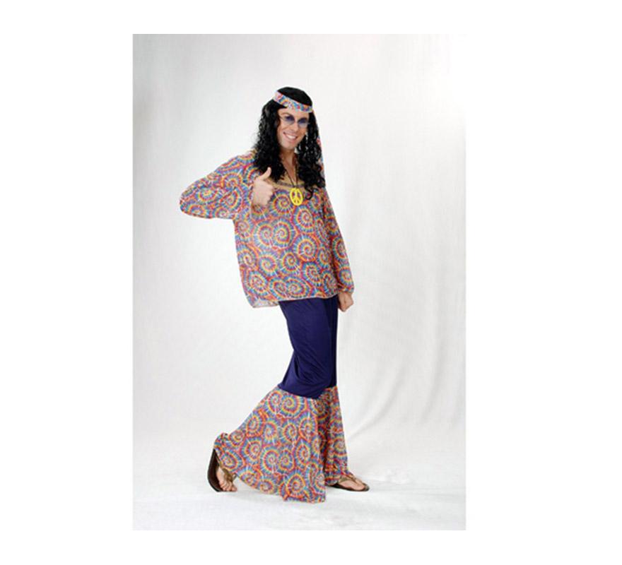 Disfraz de Hippie adulto económico. Talla standar M-L = 52/54. Incluye cinta cabeza, camiseta, pantalón y colgante con símbolo de la Paz.