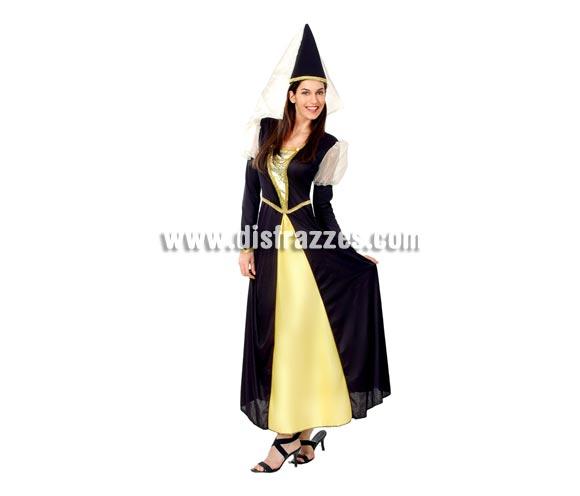Disfraz barato de Reina Medieval para mujer. Talla Standar M-L = 38/42. Incluye vestido y gorro. Un traje perfecto para Ferias y Fiestas Medievales.