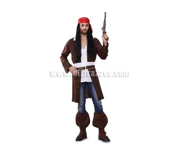 Disfraz de Pirata Caribeño para hombre. Talla standar M-L = 52/54. Incluye chaqueta con falsa camisa, cinturón, fajín, pañuelo y cubrebotas. Peluca y pistola NO incluidas, podrás verlas en la sección de Complementos.