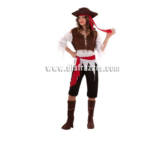 Disfraz barato de Pirata Caribeña para mujer. Talla standar M-L 38/42. Incluye gorro, camisa, chaleco, cinturón, pantalón y cubrebotas. Espada NO incluida, podrás verla en la sección de Complementos.