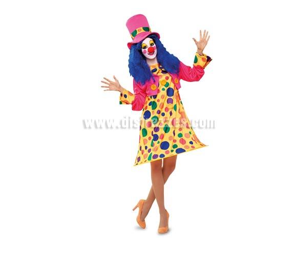 Disfraz barato de Payasa Aro Rosa para mujer. Talla M-L = 38/42. Incluye sombrero, chaqueta y vestido con aro. Zapatos y peluca NO incluidos. La peluca la podrás ver en nuestra sección de Accesorios.