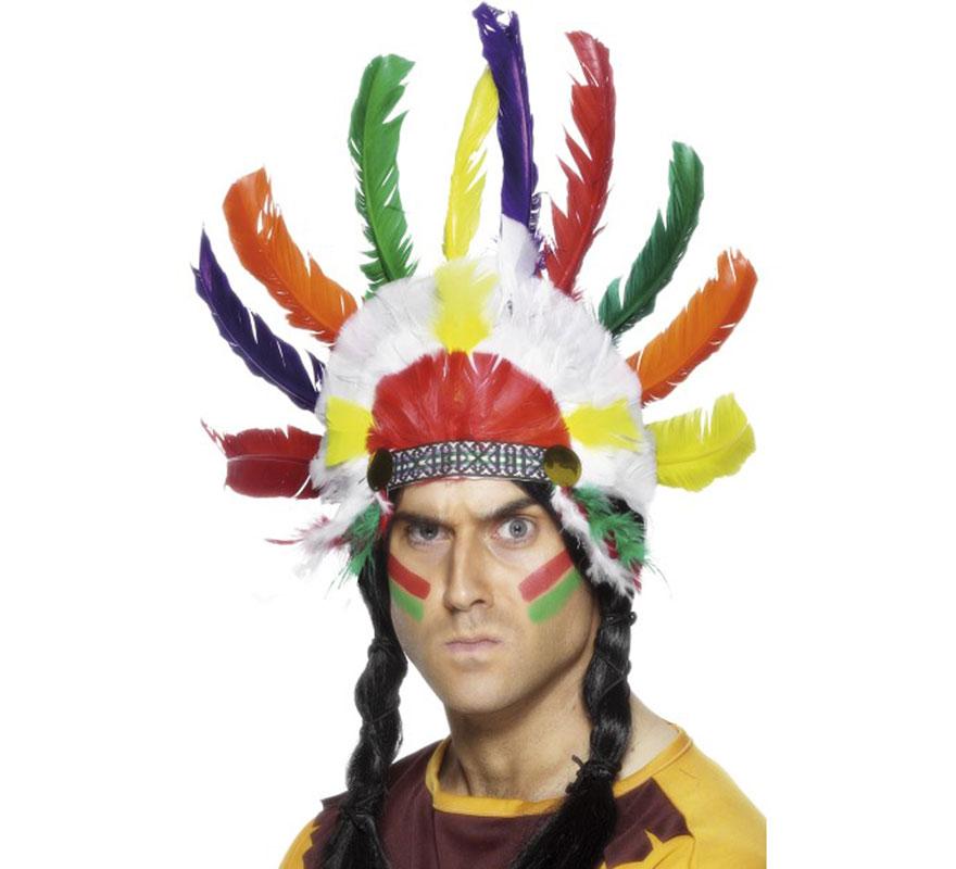 Penacho Indio Multicolor. Cinta para el pelo con Plumas de diferentes colores. El complemento perfecto para nuestros disfraces de Indios Americanos.