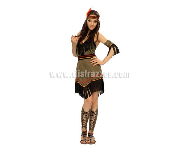 Disfraz de India Adulta Económico. Talla M-L 38/42. Incluye cinta cabeza, vestido, brazalete y cubre piernas. Hacha NO incluida, podrás verla en la sección de Complementos.