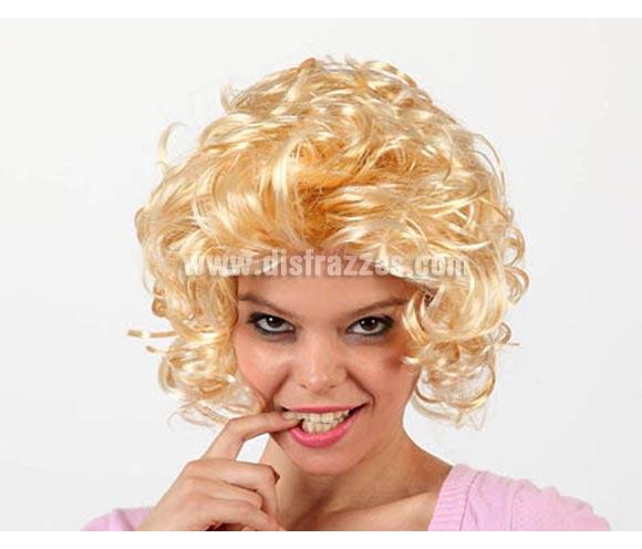 Peluca media melena rubia ondulada. Podría valer para el disfraz de Sandy de Grease.