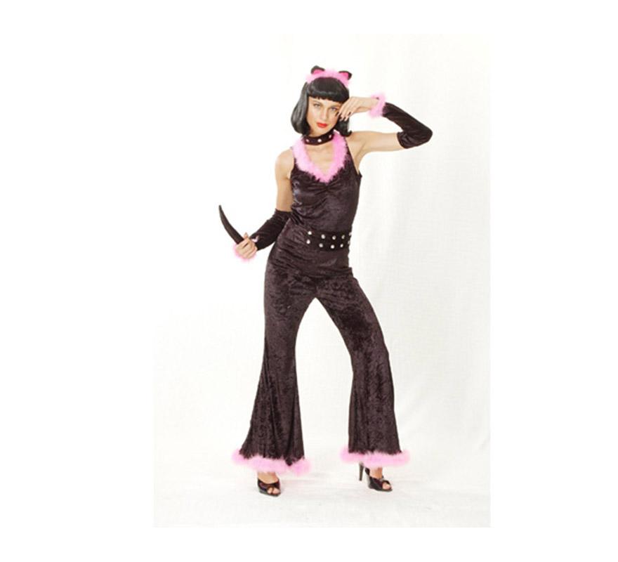 Disfraz barato de Gatita Sexy para mujer. Talla standar M-L = 38/42. Incluye tocado, mono con gargantilla, cinturón con cola y manguitos. Disfraz perfecto también para Despedida de Soltera.