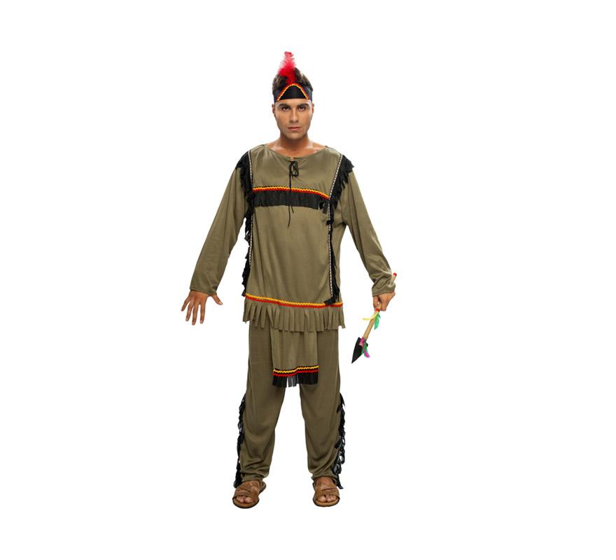 Disfraz de Indio barato para hombre. Talla Standar M-L 52/54. Incluye camisa, pantalón con mandil y gorro. Lanza NO incluida, podrás verla en la sección de Complementos.