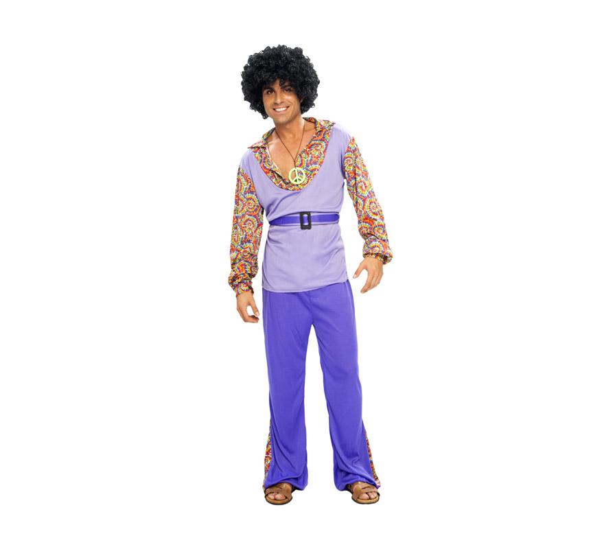 Disfraz de Hippie Adulto Económico. Talla standar M-L = 52/54. Incluye camiseta, pantalón, cinturón y collar. Peluca NO incluida, podrás verla en las sección de complementos y pelucas.