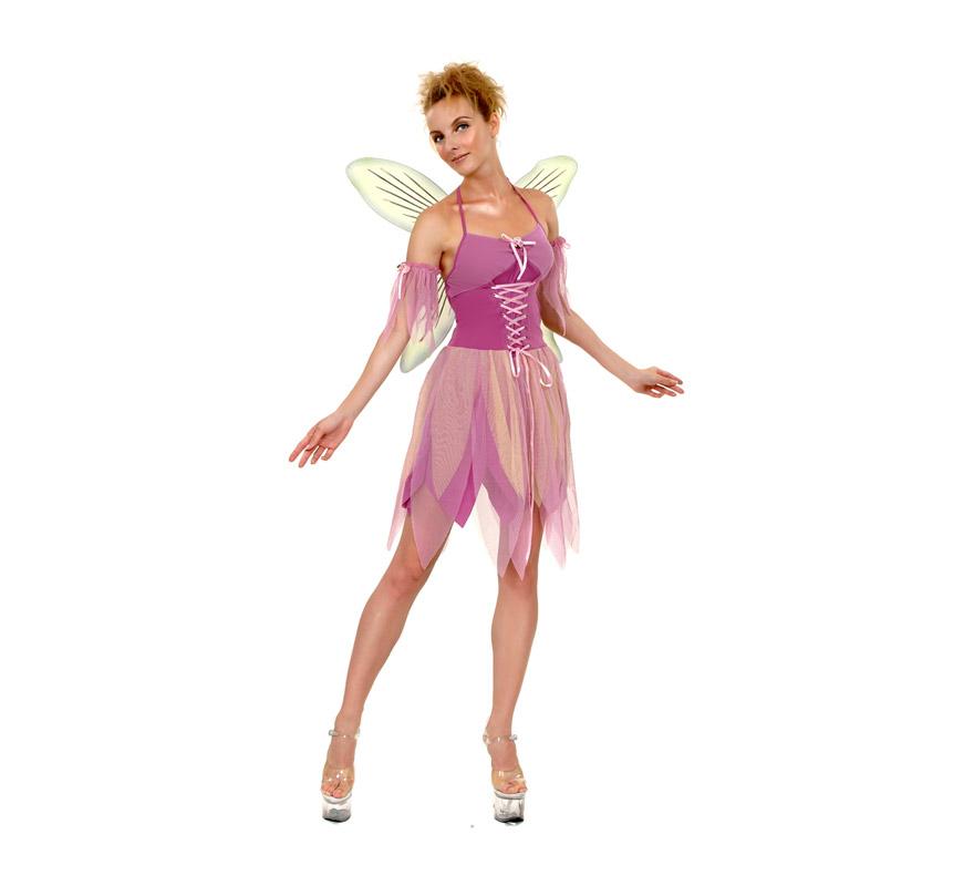 Disfraz de Hada Púrpura Adulta Económico. Talla standar M-L = 38/42. Incluye vestido, alas y brazaletes. Zapatos NO incluidos. Disfraz de duendecilla para Carnaval o para Cabalgatas de Reyes Magos en Navidad.