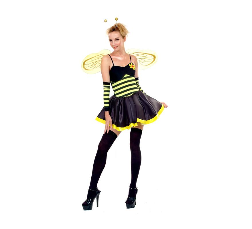Disfraz barato de Lady Avispa sexy adulta. Talla standar M-L = 38/42. Incluye vestido, alas, antenas y manguitos. Medias y zapatos NO incluidos. Disfraz de Abeja Sexy para mujer.