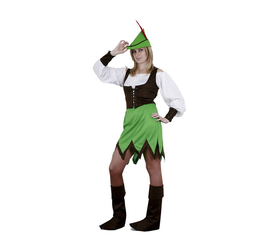 Disfraz barato de Robin Hood para mujer. Talla standar M-L = 38/42. Incluye sombrero, blusa, chaleco, falda y cubrebotas. Espada NO incluida, podrás verla en la sección de Complementos.