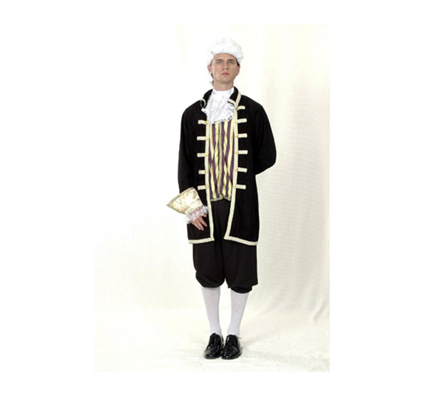 Disfraz barato de Cortesano para hombre. Talla standar M-L 52/54. Incluye chaqueta, pechera con cuello y pantalón. Puede servir cómo disfraz de Época para hombre.