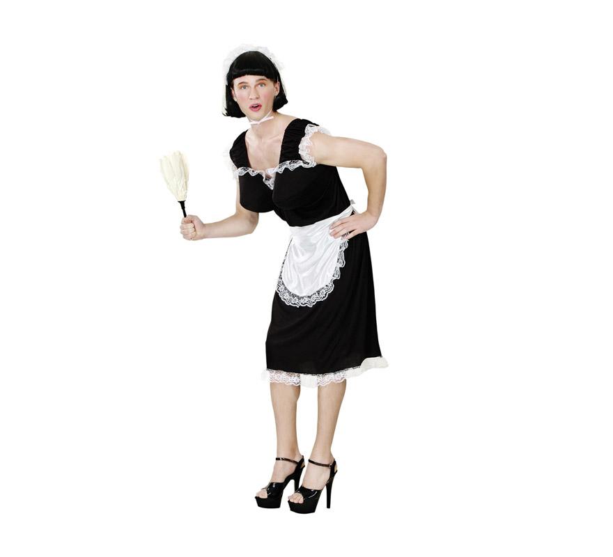 Disfraz de Doncella Francesa para hombre. Talla standar M-L = 52/54. Incluye vestido, tocado y delantal. Disfraz de Sirvienta para hombre. Perfecto para Despedidas de soltero.