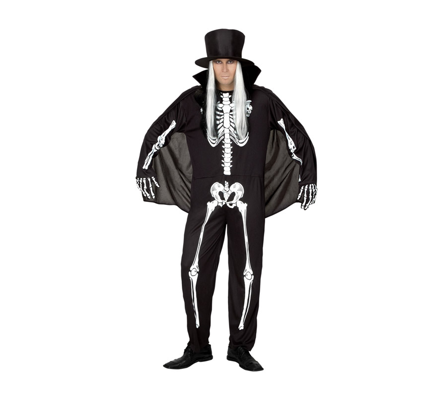 Disfraz de Skeletón adulto para Halloween. Talla Standar M-L = 52/54. Disfraz barato para Halloween que incluye sombrero con pelo, mono y capa. Disfraz de Esqueleto para hombre.