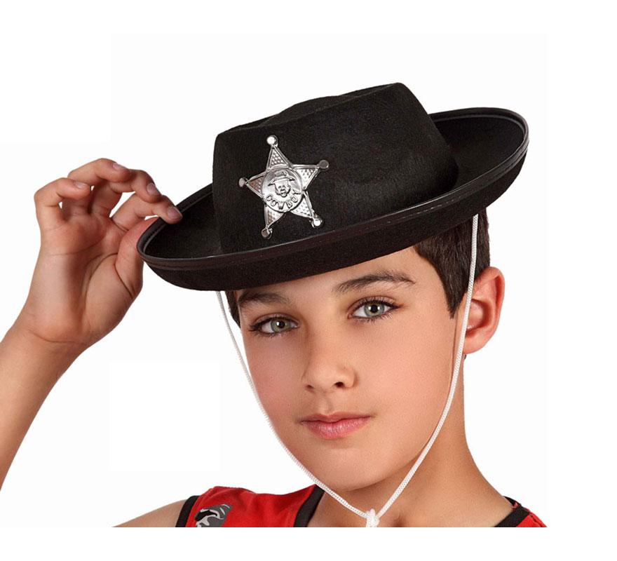 Sombrero Sheriff negro de fieltro con estrella para niños.