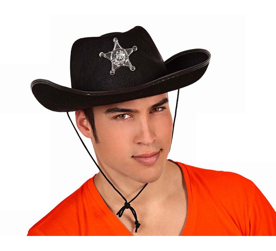 Sombrero negro de Sheriff o de Vaquero con estrella para adultos.