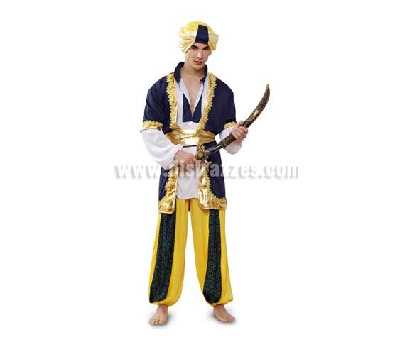 Disfraz de Sultán o Paje Real de los Reyes adulto para Carnaval o para Navidad barato. Talla standar M-L = 52/54. Incluye camisa, chaleco, pantalón, cinturón y turbante. Espada y chanclas NO incluidas.