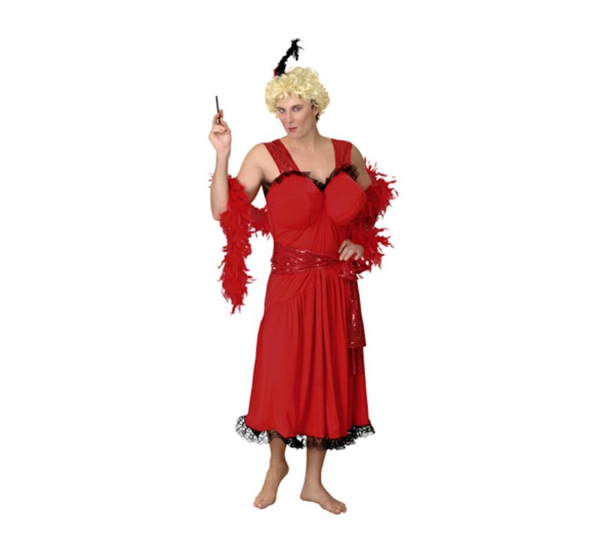 Disfraz barato de Cabaretera para Hombre. Talla Standar M-L 52/54. Incluye vestido, tocado y cinturón. Peluca, pipa y boa NO incluido, podrás verlo en la sección de Complementos y Pelucas. Éste disfraz es muy cachondo y perfecto para Despedidas de Soltero.
