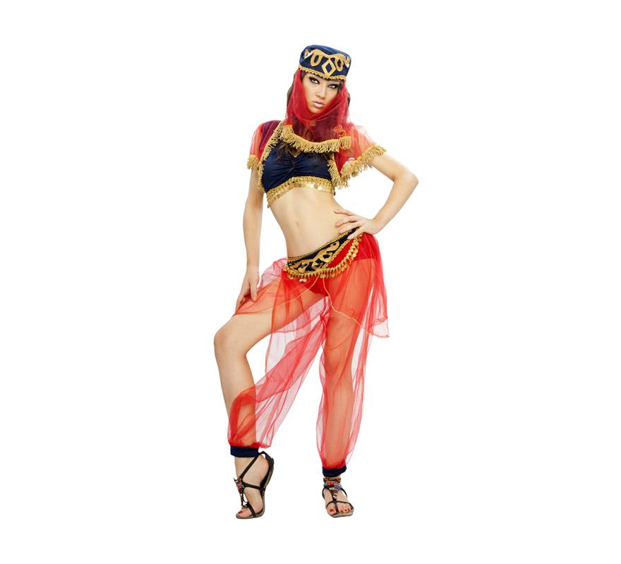 Disfraz barato de Odalisca para mujer. Talla standar M-L = 38/42. Incluye tocado, top y pantalón. Platillos NO incluidos. Disfraz de mujer del Arén o mujer Árabe perfecto para Carnaval, Fiestas o incluso se ha utilizado como traje de Paje Real de mujer en Cabalgatas de Reyes.