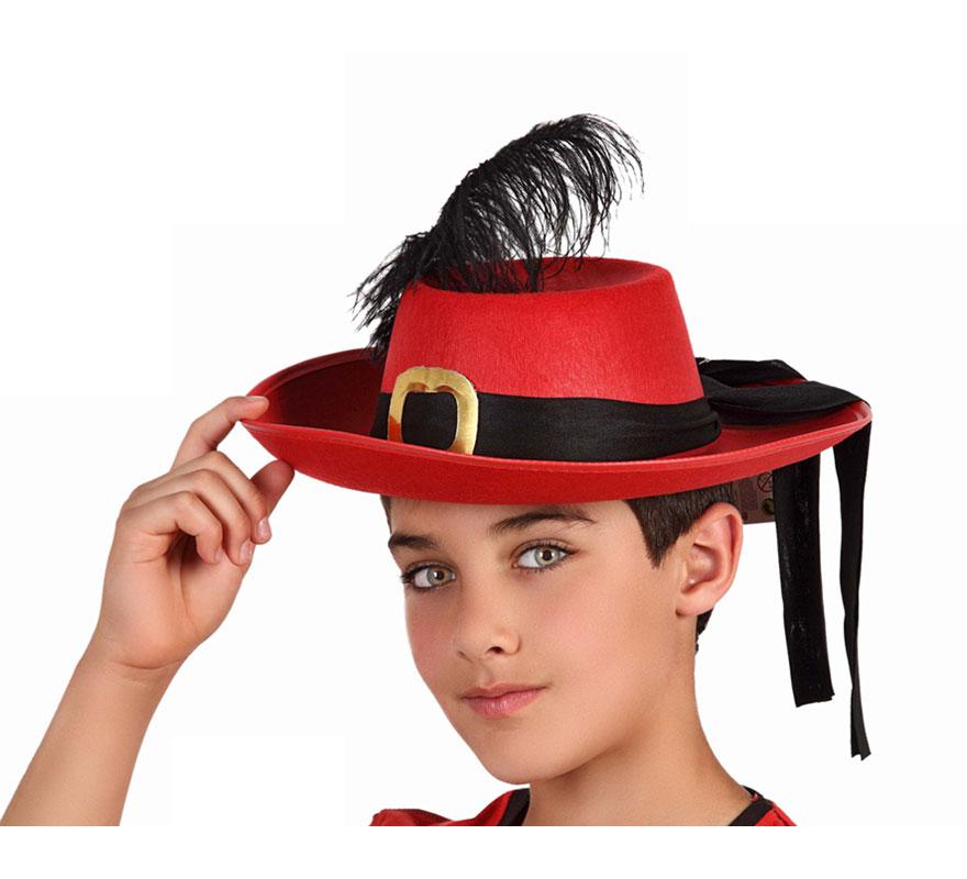Sombrero de Mosquetero rojo con cinta negra para niños.