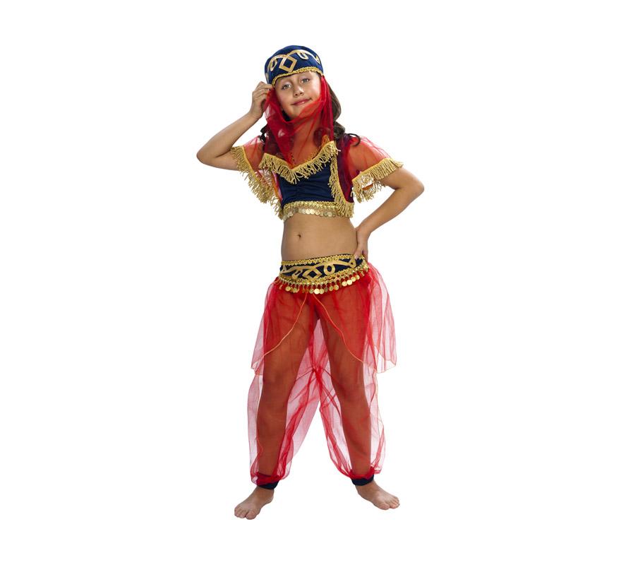 Disfraz de Bailarina Árabe infantil. Talla de 5 a 6 años. Incluye tocado, top y pantalón. Disfraz de Bailarina del Harén para niñas. Disfraz de Mora niña que puede servir también como disfraz de Paje Real de los Reyes Magos en Navidad.