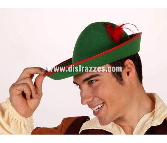 Sombrero de Tirolés verde con pluma roja. Sombrero de Robin Hood.