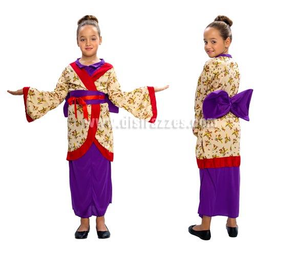 Disfraz de Geisha niña talla de 5 a 6 años. Incluye vestido y cinturón.