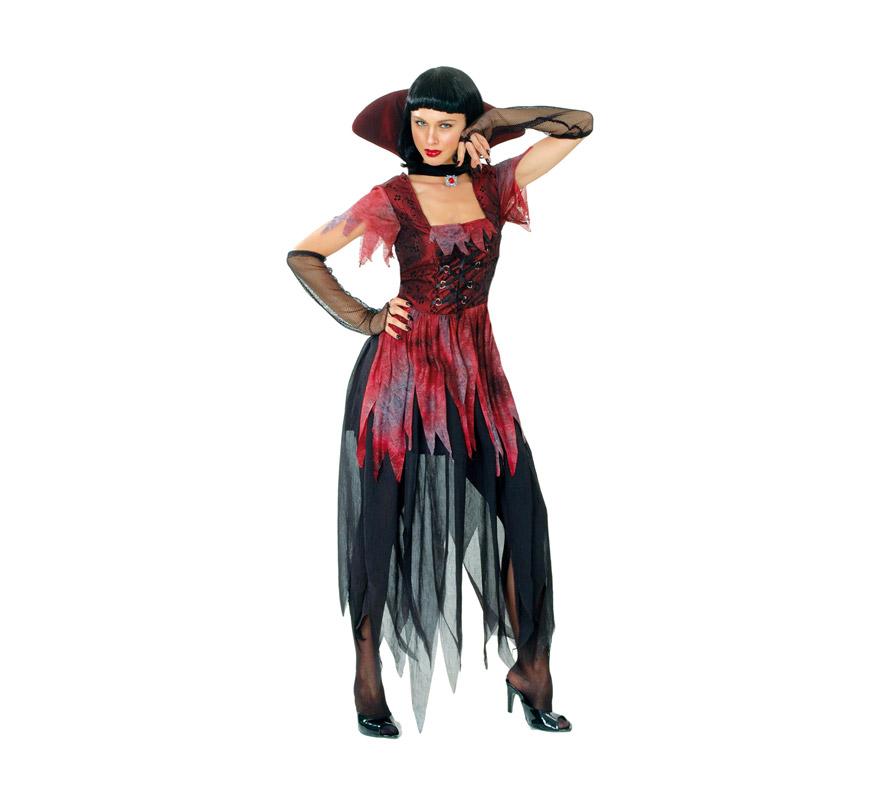 Disfraz de Vampiresa Gótica adulta para Halloween. Talla Standar M-L = 38/42. Disfraz barato para Halloween que incluye vestido, cuello y guantes.