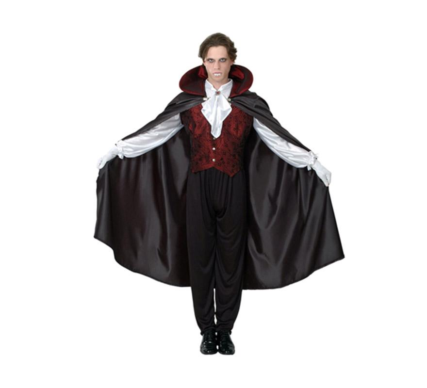 Disfraz de Vampiro Gótico adulto para Halloween. Talla Standar M-L = 52/54. Disfraz de Drácula barato para Halloween que incluye camisa con chaleco, capa con cuello y pantalón. Dientes de Drácula NO incluidos, podrás verlos en las sección de Complementos de Halloween. Éste disfraz de Halloween es ideal para celebrar la Fiesta de la Noche de las Brujas cada vez más arraigada en nuestro País en Pub's, Discotecas, Casas particulares,  Restaurantes o Colegios y ayudar a crear un ambiente terrorífico y tenebroso indispensable para la Noche de Halloween la cual se celebra la víspera de Todos los Santos. ¡¡Compra tu disfraz para Halloween en nuestra tienda de disfraces, será divertido!!