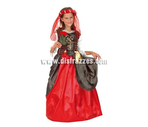 Disfraz de Dama del Renacimiento talla de 5 a 6 años. Incluye Incluye tocado, blusa con corpiño, falda y cinturón. Flor NO incluida.