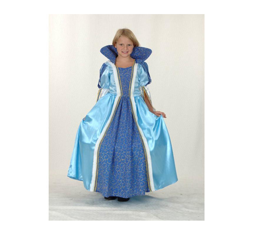 Disfraz de Princesa Azul infantil para Carnaval barato. Talla de 5 a 6 años. Incluye vestido y cuello.