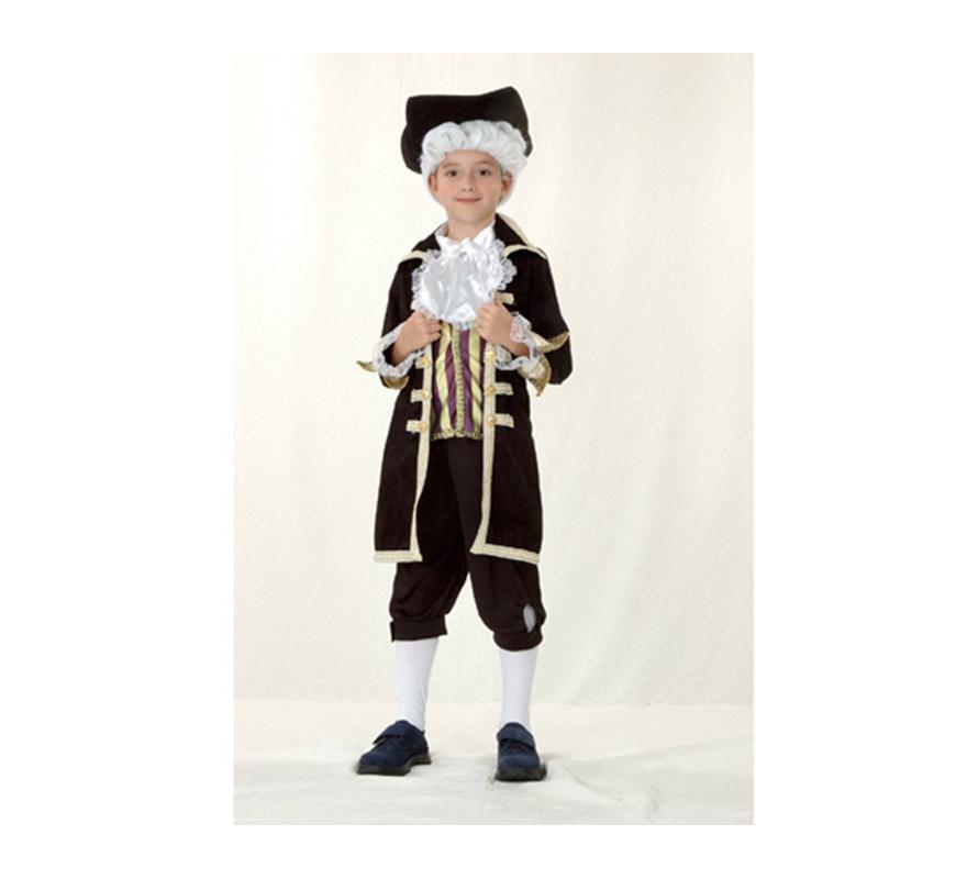 Disfraz de Cortesano infantil para Carnaval. Talla de 5 a 6 años. Incluye sombrero, chaqueta, pechera con cuello y pantalón. Éste disfraz de Época de niño para Carnaval es ideal para divertirse en las Fiestas de Carnavales.
