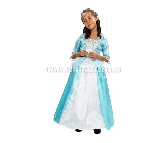 Disfraz de Princesa lujo para niñas de 5 a 6 años. Incluye vestido y falda con aro que se pone por debajo del vestido para dar volumen al mismo.