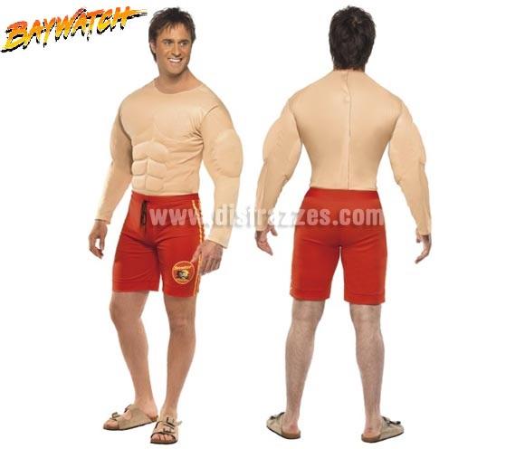 Disfraz de la serie Los Vigilantes de la Playa musculoso para hombre talla M. Incluye el pecho musculoso bañador. Ideal para Despedidas de Soltero.