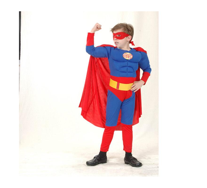 Disfraz de Héroe Musculóso infantil barato para Carnaval. Talla de 5 a 6 años. Incluye mono con relleno imitando músculos, cinturón, antifaz y capa. Para jugar a ser Superman.