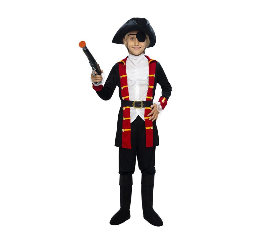 Disfraz de Bucanero niño barato para Carnaval. Talla de 5 a 6 años. Incluye chaqueta, cinturón, pantalón, pechera, cubrebotas, sombrero y parche. Pistola NO incluida, podrás verla en la sección de Complementos. Éste disfraz de Pirata es ideal para disfrazar al niño de Capitán Garfio.
